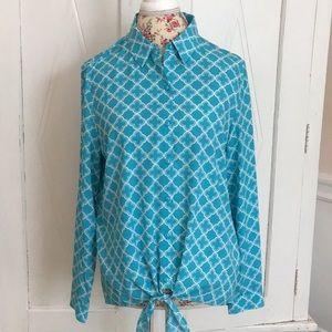 Susan Graver tie front top - Size 8